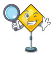 detective warning attention sign shaped character vector image