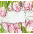 Empty note paper and tulip flowers EPS 10 vector image vector image