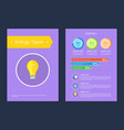 energy types statistics sample text colorful card vector image vector image