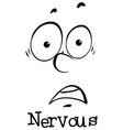 expression wordcard for nervous vector image vector image