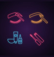 eyebrows shaping neon light icons set vector image vector image