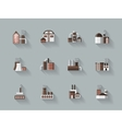 Factory buildings flat color icons vector image vector image