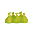 five green bags with dollar signs full of money vector image vector image