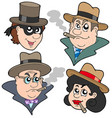 gangester faces collection vector image