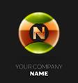 golden letter n logo symbol in golden-green circle vector image