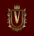 golden royal coat of arms with v monogram vector image vector image