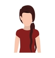 half body silhouette woman with ponytail hair vector image vector image