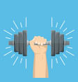 hand holding a dumbbell vector image