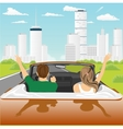 happy free couple driving in cabriolet car vector image vector image