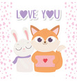 happy valentines day cute fox with envelope vector image vector image