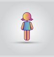 icon pink stick figure female women or girl vector image vector image