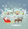 Invitation card with Santa Claus in a sleigh for vector image vector image
