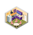 kitchen isometric with furniture vector image vector image