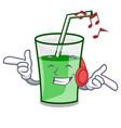 listening music green smoothie mascot cartoon vector image vector image