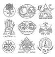 magic emblems hand drawn set vector image