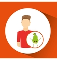 man with cartoon fruit pear vector image vector image
