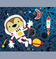monkey cartoon funny astronaut with rocket on vector image