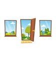 open door and windows cartoon landscape vector image