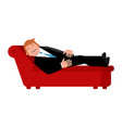 patient on psychologists couch is isolated vector image vector image