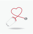 red stethoscope in shape of heart isolated on vector image vector image