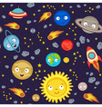 seamless pattern cute solar system vector image vector image
