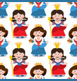 seamless pattern with cartoon queens vector image vector image