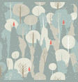 seamless winter forest pattern christmas vector image vector image