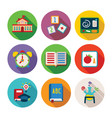 set of colorful education icons in flat style vector image