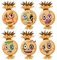 set of halloween faces vector image
