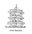 sketch chinese pagoda vector image vector image