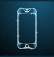 smartphone touch screen display on blue space vector image vector image