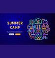 summer camp neon banner design vector image vector image