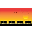 Tank wagons birds and sunset vector | Price: 1 Credit (USD $1)