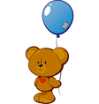 teddy with balloon vector image vector image