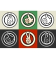 Thumb up and Victory gestures emblem set vector image vector image