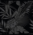 tropical seamless pattern in black and white style vector image vector image