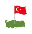 turkey map and flag turkish banner and land area vector image