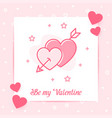 two hearts arrow valentine card love day text icon vector image vector image