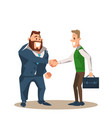 two smiling business man character shake hand vector image vector image