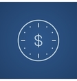 Wall clock with dollar symbol line icon vector image