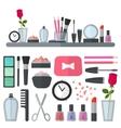 Make up flat icons vector image
