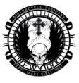 motor skull shield design vector image