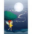 A night fairy with a yellow dress vector image vector image