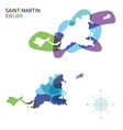 Abstract color map of Saint-Martin vector image vector image