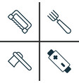 apparatus icons set collection of carpentry vector image vector image