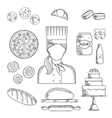 Baker profession and pastry sketched icons vector image vector image