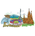 barcelona doodles vector image vector image