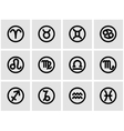 black zodiac symbols icon set vector image