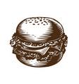 burger hamburger cheeseburger american fast vector image