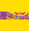 burning diya on happy diwali holiday background vector image vector image
